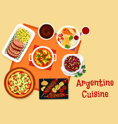argentine cuisine lunch menu with dessert icon vector image vector image