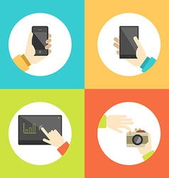 Business hands touch digital devices e-commerce vector