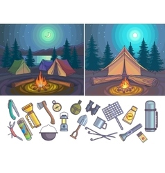 Camping Infographic set with backgrounds and vector image