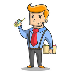 Character of businessman with phone vector