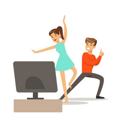 Couple console and motion capture dancingpart of vector