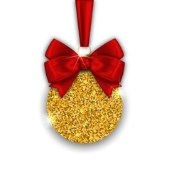 Glitter Christmas Ball with Golden Surface vector image