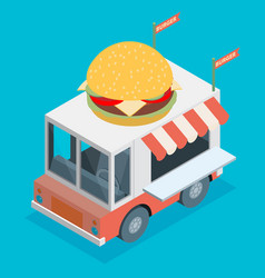 Isometric of food truck in flat style vector