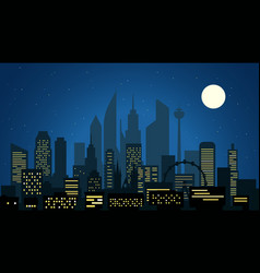 modern cityscape in the night big city night vector image vector image