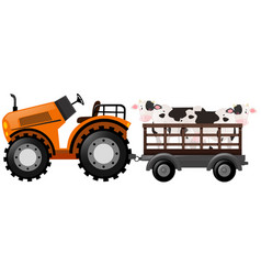 Orange tractor with two cows on wagon vector