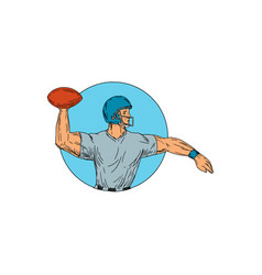 Quarterback qb throwing ball motion circle drawing vector