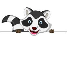 Raccoon cartoon posing with blank sign vector