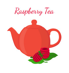 raspberry tea in teapot with berries vector image vector image