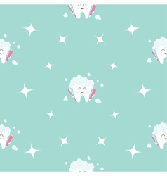 Seamless pattern brush paste tooth health sparkle vector