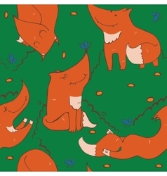 Seamless pattern of hand drawn cute ginger foxes vector image vector image