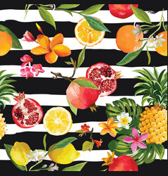 seamless tropical fruits pattern orange lemon vector image