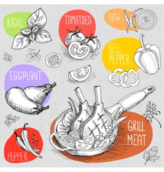 Set of chalk drawn on a blackboard food spices vector image vector image