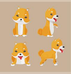Shiba inu dog cartoon set vector