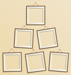 Six blank wooden modern frame isolated on beige vector image