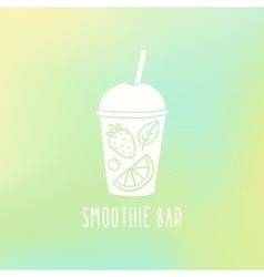 Smoothie bar cup to go with fruits vector