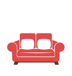 Sofa icon in red and white colors isolated vector
