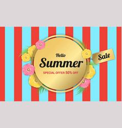 Summer flowers gold frame or summer floral design vector