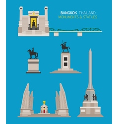 Thailand monuments and statues objects set vector