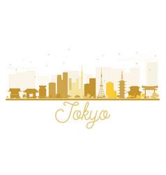 tokyo city skyline golden silhouette vector image