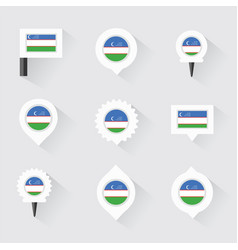 Uzbekistan flag and pins for infographic and map vector