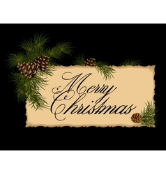 Vintage Christmas card with fir tree vector image