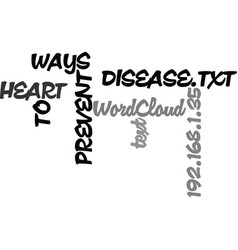 Ways to prevent heart disease text word cloud vector