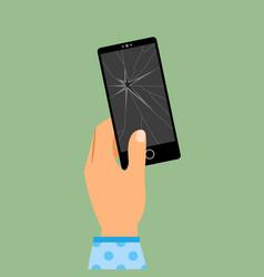 womans hand holding broken smartphone vector image vector image