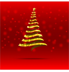 011 gold ribbon christmas tree vector