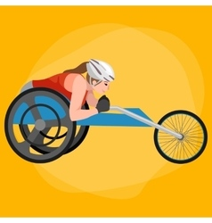 Disabled athlete on wheelchair race track sport vector