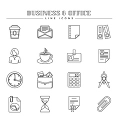 Business and office line icons set vector image