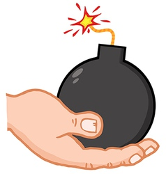 Hand holding bomb vector