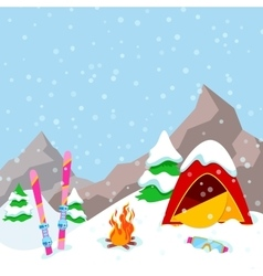 Winter camp mountains landscape with tent vector