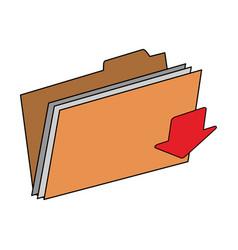 arrow documents folder vector image