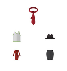 Flat icon clothes set of stylish apparel panama vector