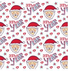 santa claus new year pattern christmas wrapping vector image