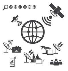 Big data icons set satellite telecommunications vector