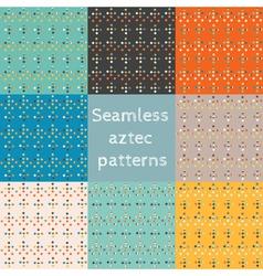 Set of 8 seamless ethnic aztec patterns vector