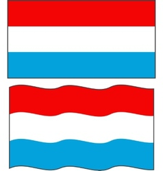 Flat and waving luxembourg flag vector