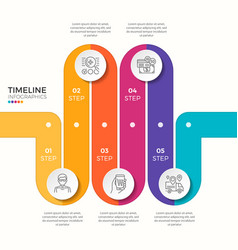 5 steps winding colorful timeline infographic vector
