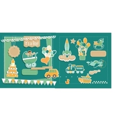 Baby boy shower scrapbook elements set vector
