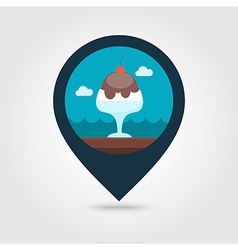 Ice cream pin map icon summer vacation vector