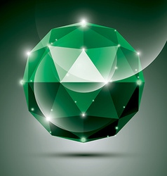 Abstract 3D emerald shiny sphere with sparkles vector image vector image