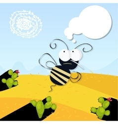 Angry bee in the desert vector