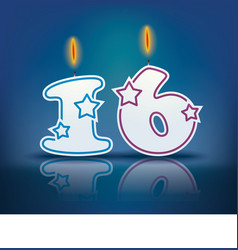 Birthday candle number 16 vector
