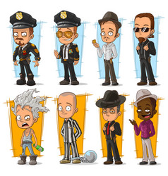 cartoon cool policeman and gangster character set vector image vector image