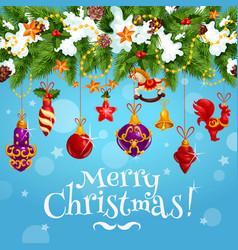 christmas celebration wish greeting card vector image