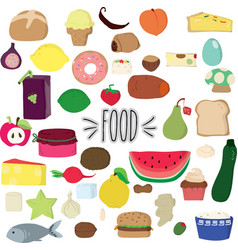 Cute food colorful hand drawn vector