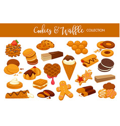 delicious cookies and waffles collection with vector image