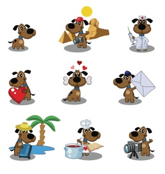 Dogs icons vector