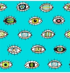 Eyes sketchy hand drawn outline colorful seamless vector